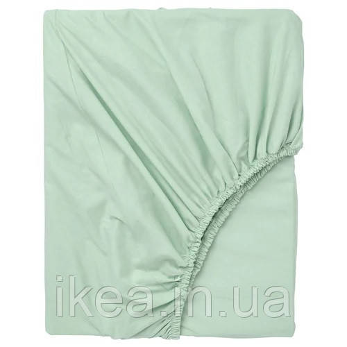 Простынь на резинке двуспальная 100% хлопок мятная IKEA DVALA 160x200 см ИКЕА ДВАЛА