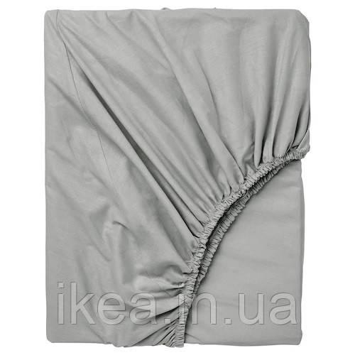 Простынь на резинке односпальная 100% хлопок серая IKEA DVALA 90x200 см ИКЕА ДВАЛА