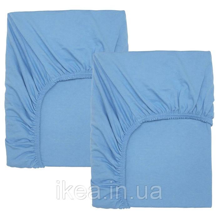 Простынь на резинке в кроватку для малышей мягкая 100% хлопок голубая 2 шт IKEA LEN 60x120 см ИКЕА ЛЕН