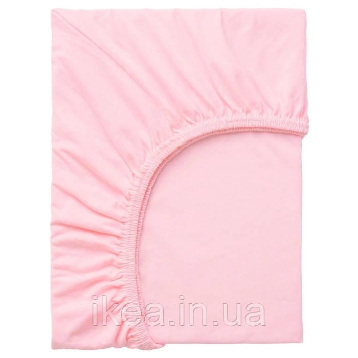Простынь на резинке в кроватку для малышей мягкая 100% хлопок розовая IKEA LEN 80x165 см ИКЕА ЛЕН