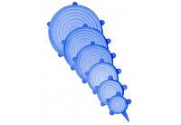 Набір багаторазових силіконових кришок для посуду 6 штук Super Stretch SILICONE Lids SSSL6, КОД: 2452754