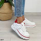 Кроссовки женские белые с красным 5877, фото 5