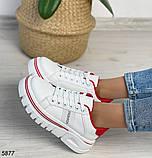Кроссовки женские белые с красным 5877, фото 2