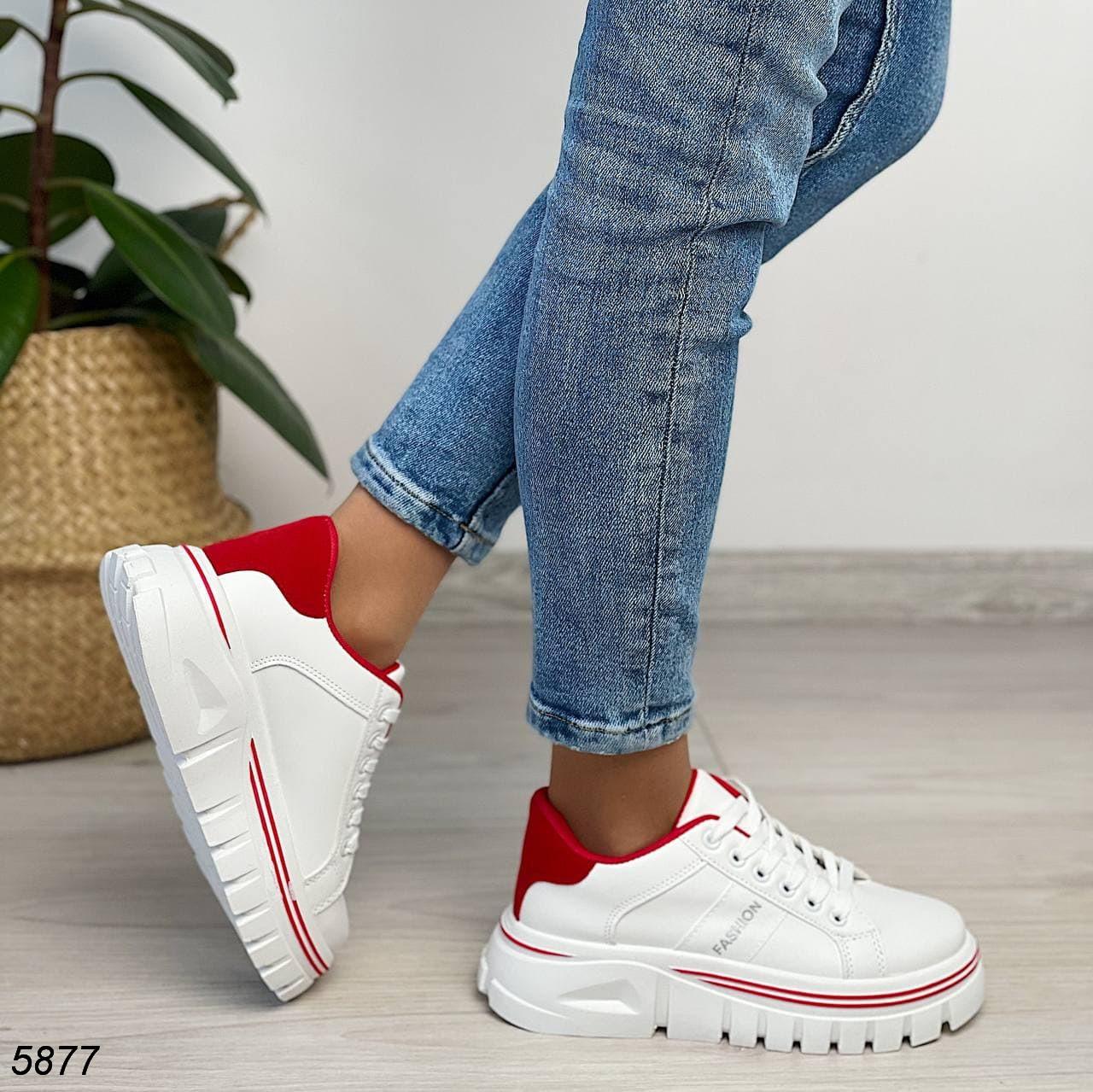 Кроссовки женские белые с красным 5877