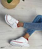 Кроссовки женские белые с красным 5877, фото 3