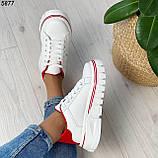 Кроссовки женские белые с красным 5877, фото 6