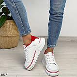 Кроссовки женские белые с красным 5877, фото 7