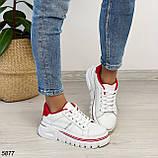 Кроссовки женские белые с красным 5877, фото 9