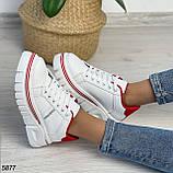 Кроссовки женские белые с красным 5877, фото 8