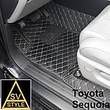 Килимки на Toyota Sequoia Шкіряні з текстильними накидками 3D (2008-2016), фото 8