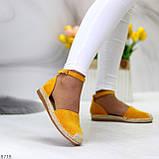 Актуальные солнечные желтые замшевые босоножки эспадрильи низкий ход, фото 3