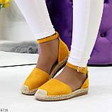 Актуальные солнечные желтые замшевые босоножки эспадрильи низкий ход, фото 7