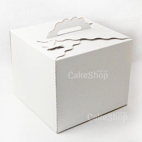 Коробка для торта с бабочками Белая, 30х30х25см