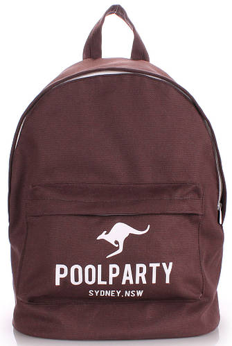 Молодежный рюкзак Poolparty backpack-kangaroo-brown коричневый