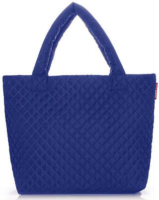 Женская стеганая сумка на двух ручках POOLPARTY pp1-eco-brightblue синяя