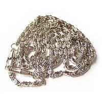 Цепочка плетеная с карабинами серебро