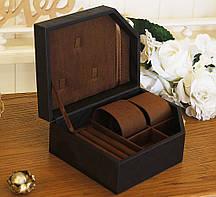 Шкатулка для хранения двух часов 20,5*15,4*4,8 Гранд Презент 603443 коричневая