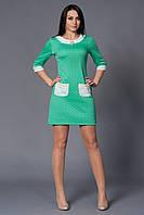 Бирюзовое женское платье из теплого трикотажа.