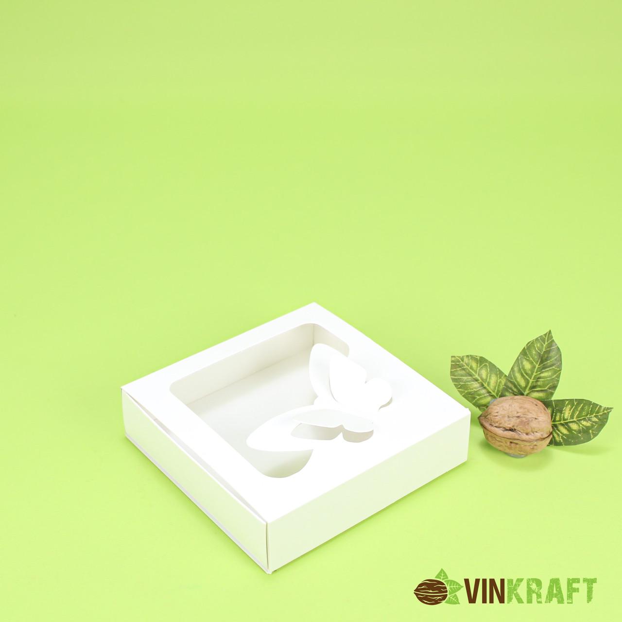 """Коробка 120*120*30 для пряника с окном """"Бабочка"""", белая"""