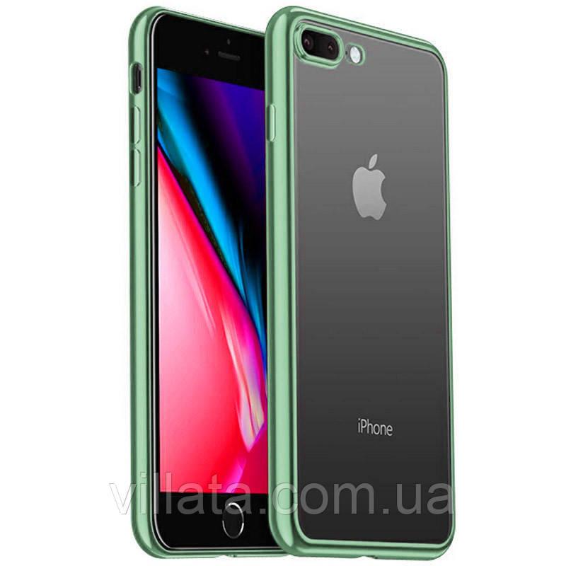 Прозорий силіконовий чохол з глянцевою окантовкою Full Camera для Apple iPhone 7 plus/8 plus (5.5) Зелений