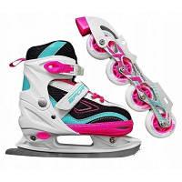 Роликовые коньки SportVida 4 в 1 SV-LG0033 Size 39-42 Pink-Blue SKL41-227435
