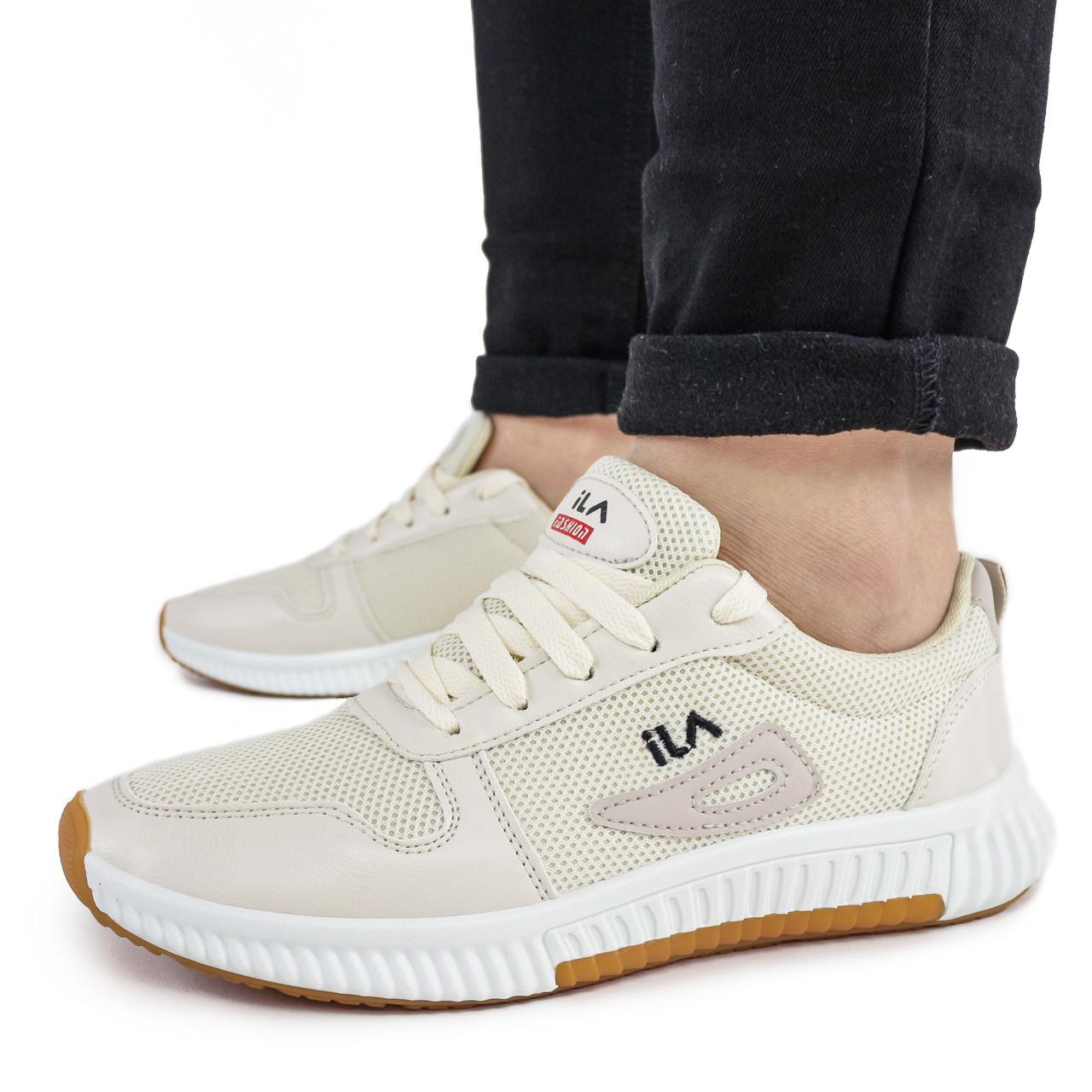 Женские кроссовки Dual ILA Fashion бежевые демисезонные 41 р. - 27 см (1339003777)