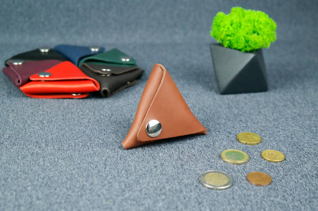 Шкіряна монетниця, Шкіра Італійський краст, колір Коричневий, фото 2
