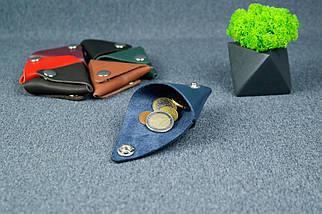 Кожаная монетница, Кожа Итальянский краст, цвет Синий, фото 2