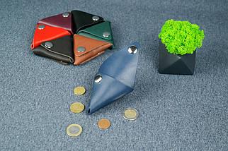 Кожаная монетница, Кожа Итальянский краст, цвет Синий, фото 3