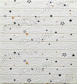 Самоклеюча 3D панель, декоративні стенові 3Д панелі під білу цеглу Зірки