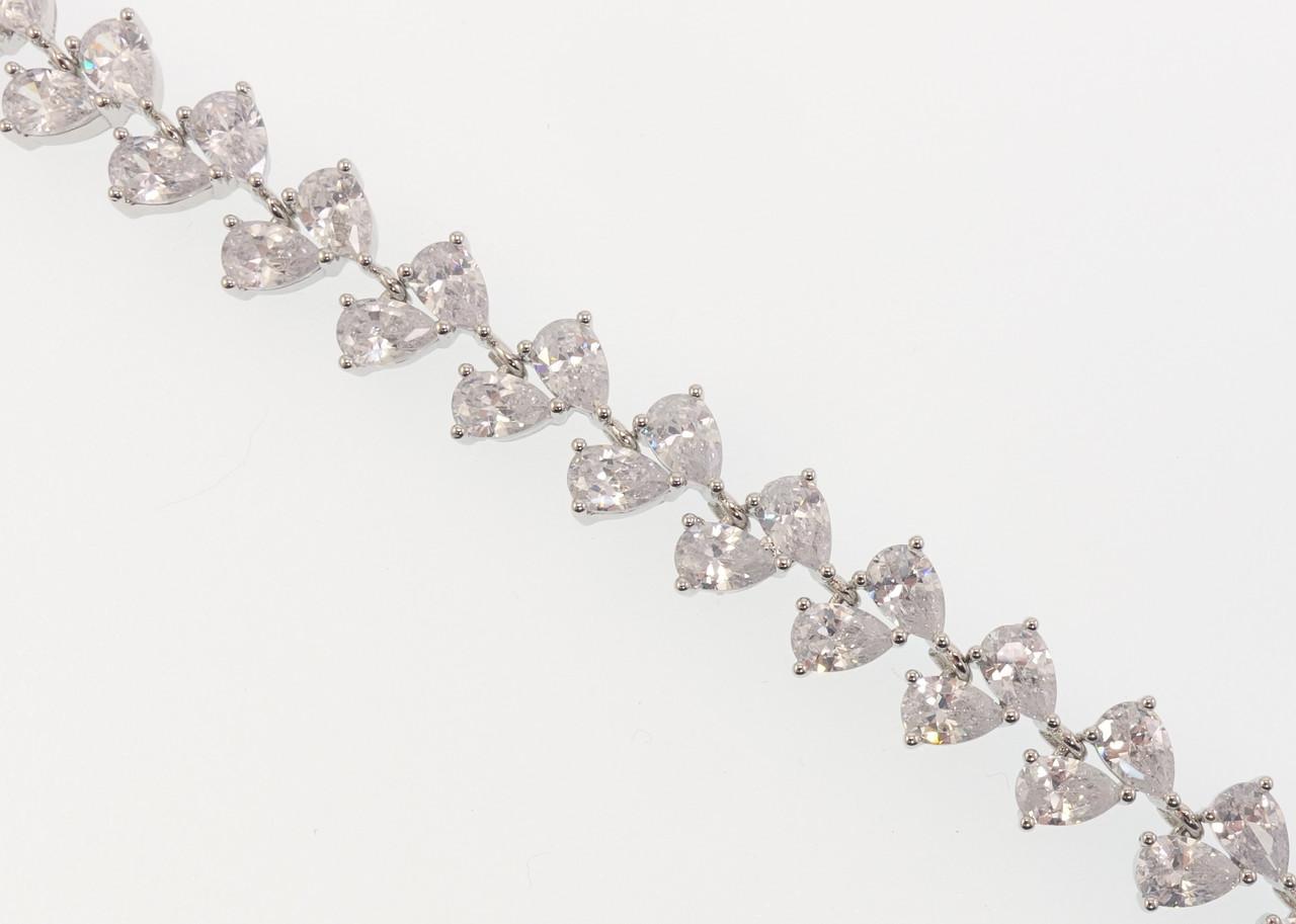 """Браслет СМ Родий """"Кристальные капли"""" размер 20,5см х 10мм"""