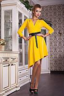 Желтое нарядное платье с поясом, фото 1