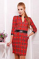 Красное платье в клетку с кожаным поясом Лаура