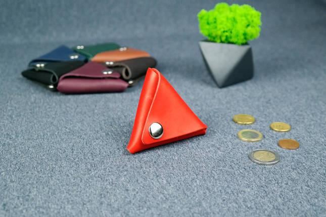 Кожаная монетница, Кожа Итальянский краст, цвет Красный, фото 2