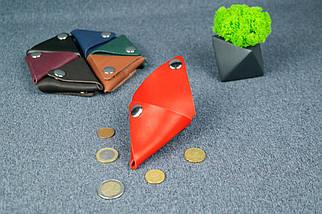 Шкіряна монетниця, Шкіра Італійський краст, колір Червоний, фото 3