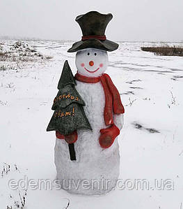 """Новогодняя садовая фигура Снеговик в шляпе """"Веселих свят!"""""""
