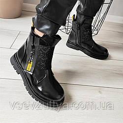 Ботинки детские для девочки черные лаковые 33