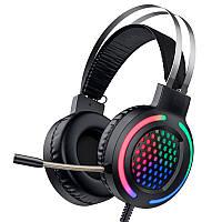 Игровые наушники НОСО Gaming LED RGB Headphones ESD03 с микрофоном и подсветкой геймерские Black черные