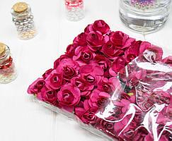 (ОПТ,12 букетиков) Роза бумажная 1,5см (144 шт) Цвет - Малиновый