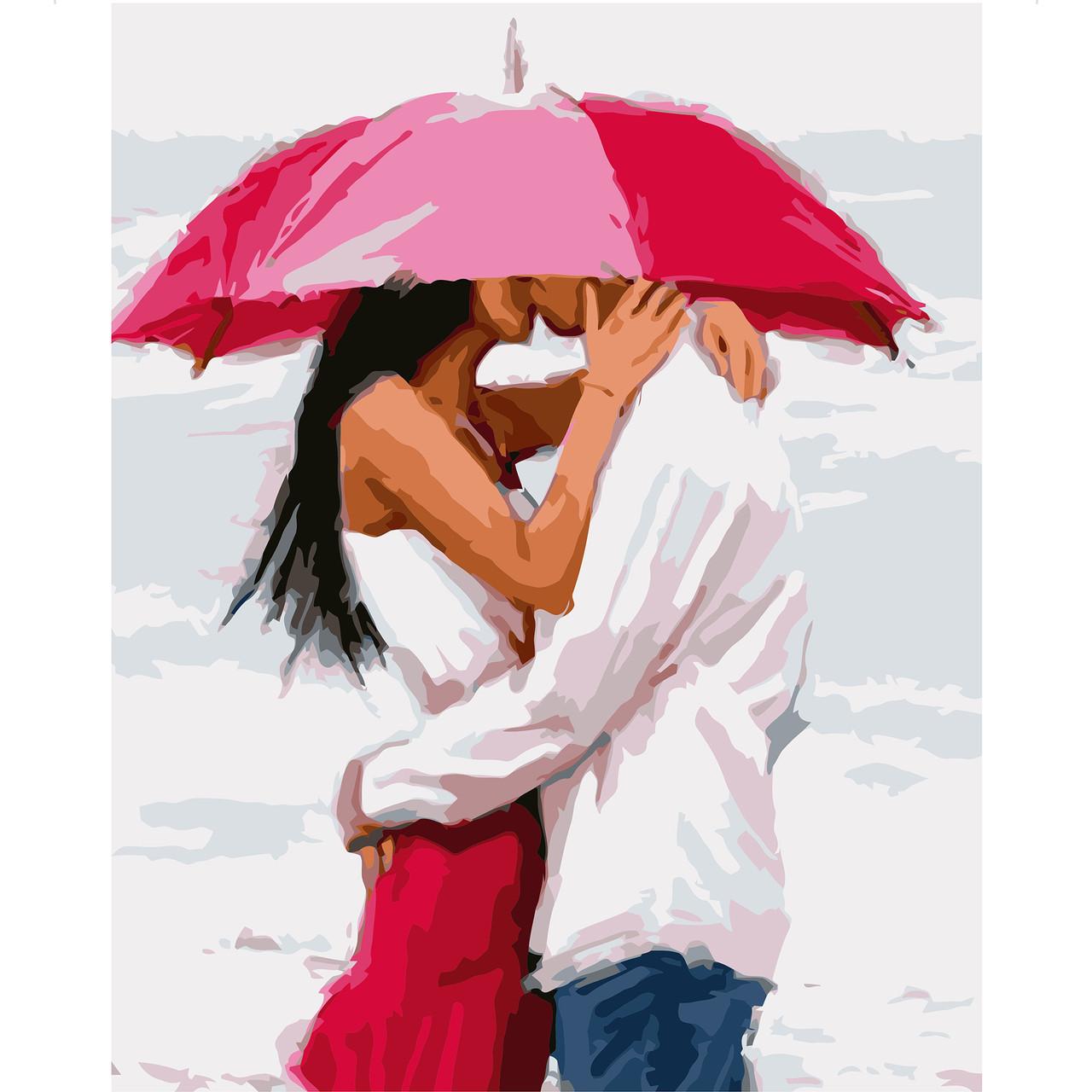 Картина по номерам VA-1575 Поцелуй под зонтом, 40х50 см Strateg