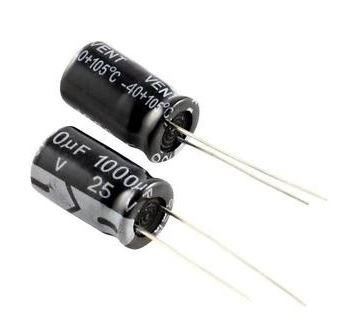 Конденсатор электролитический 1000uF 25V 10 x 17 мм. 1 шт