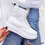 Спортивные ботинки- хайтопы женские белые эко кожа, фото 3