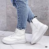 Спортивные ботинки- хайтопы женские белые эко кожа, фото 2