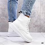 Спортивные ботинки- хайтопы женские белые эко кожа, фото 4