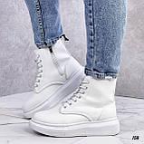 Спортивные ботинки- хайтопы женские белые эко кожа, фото 5