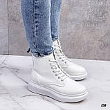 Спортивные ботинки- хайтопы женские белые эко кожа, фото 6