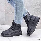 Жіночі кросівки - хайтопы чорні ДЕМІ еко шкіра, фото 2