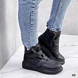 Жіночі кросівки - хайтопы чорні ДЕМІ еко шкіра, фото 3