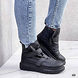 Жіночі кросівки - хайтопы чорні ДЕМІ еко шкіра, фото 4