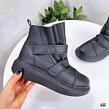 Жіночі кросівки - хайтопы чорні ДЕМІ еко шкіра, фото 6